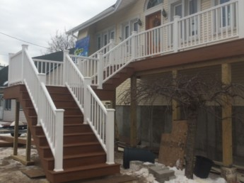 Timbertech Terrain Decking on raised home in Freeport