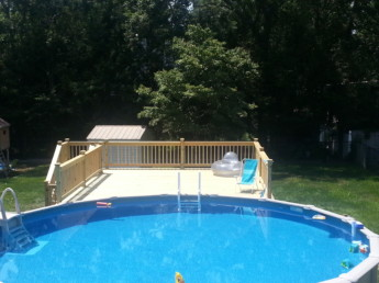 Pressure treated pool deck