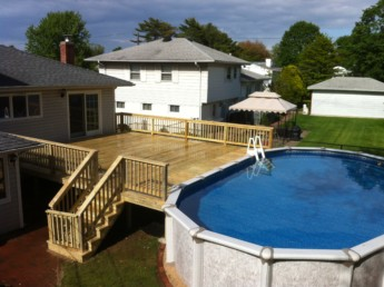 Pressure Treated Wood Pool Deck