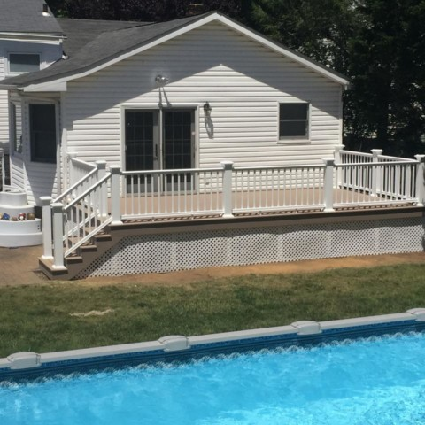 Timbertech Sandy Birch Decking with Trex Select White Railings