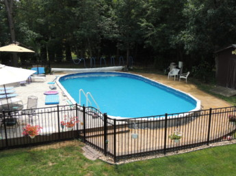 Ipe Pool Deck with Stamped Concrete Patio