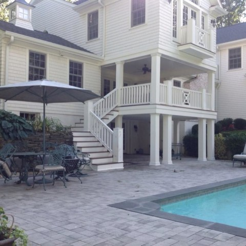 Custom Staircase from Deck to Pool